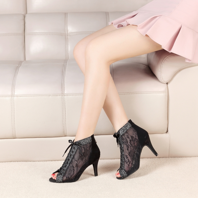 Women's Lace Suede Boots Latin Modern Ballroom With Satin Flower Lace-up Dance Shoes