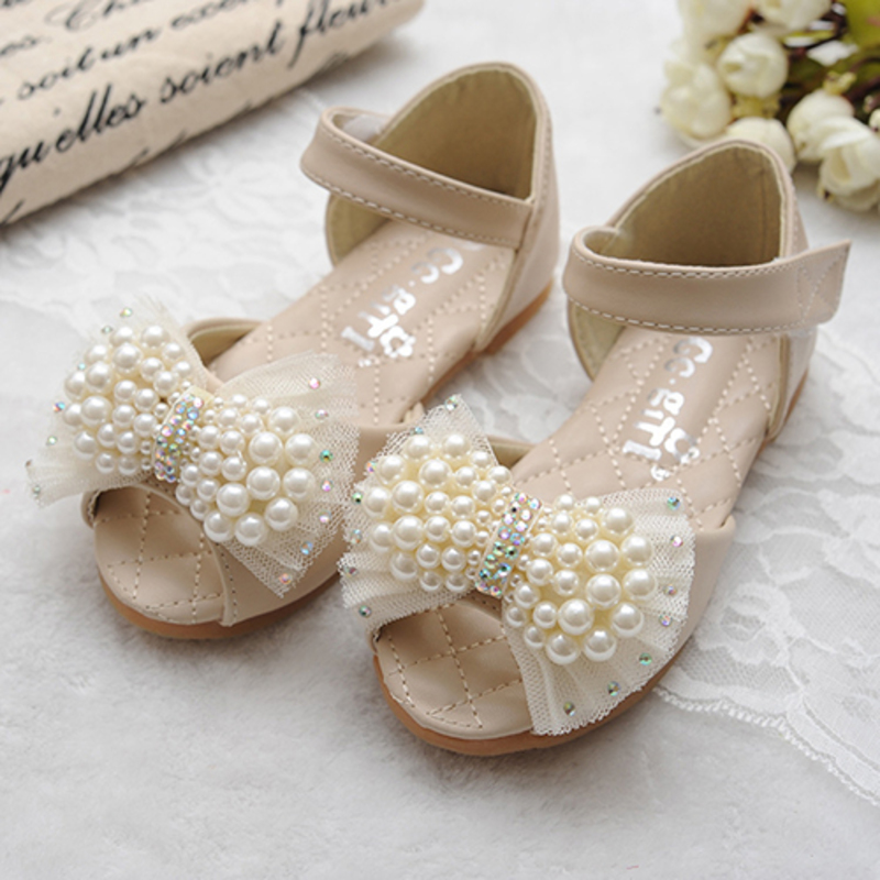 Girl's Peep Toe Leatherette Flat Heel Sandals Flats Flower Girl Shoes With Bowknot Imitation Pearl Velcro