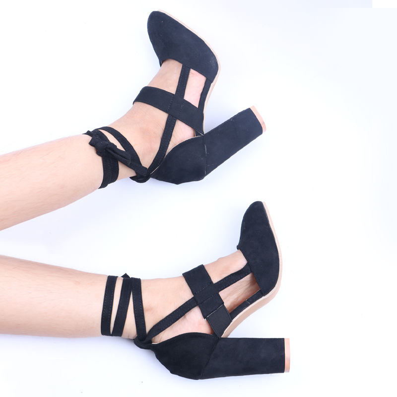 Women's Suede Chunky Heel Pumps With Lace-up shoes