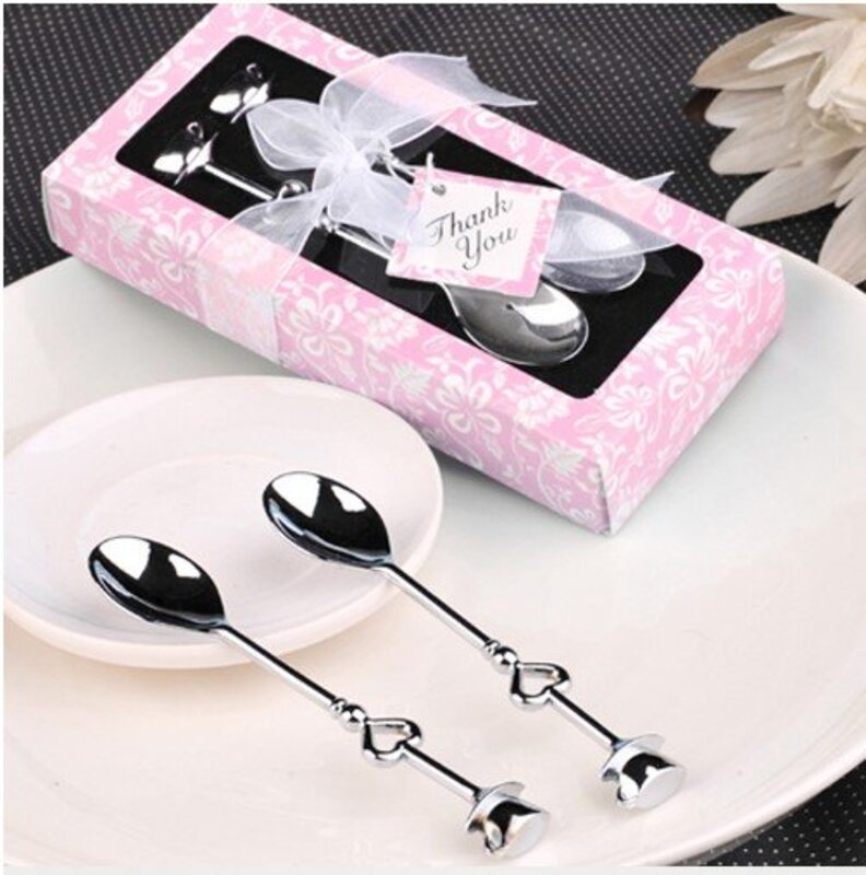 Classic Stainless Steel Teacups Spoon Set With Ribbons