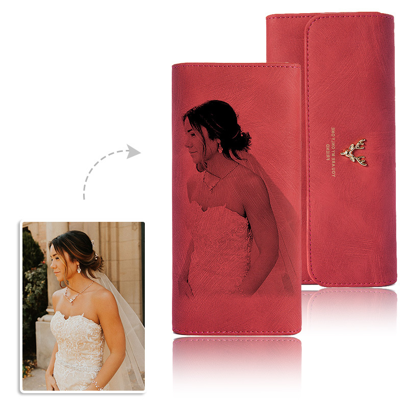 Bride Gifts - Personalized Photo Engraved Black And White Imitation Leather Wallet