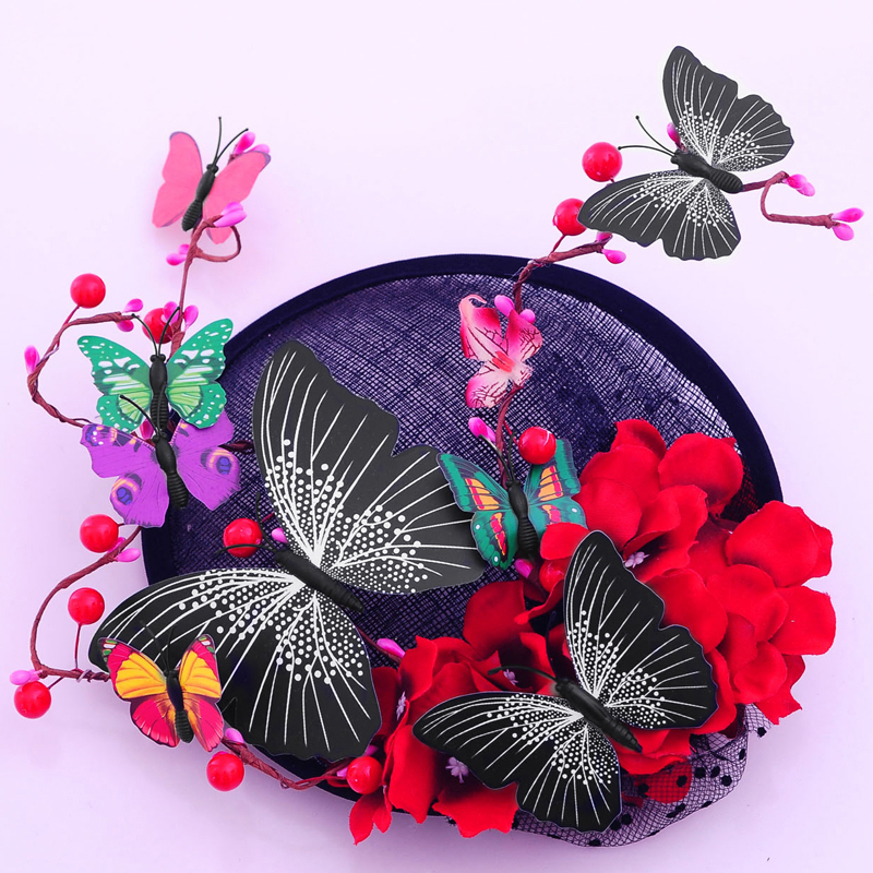 Ladies' Beautiful Cambric With Silk Flower/Imitation Butterfly Fascinators/Kentucky Derby Hats
