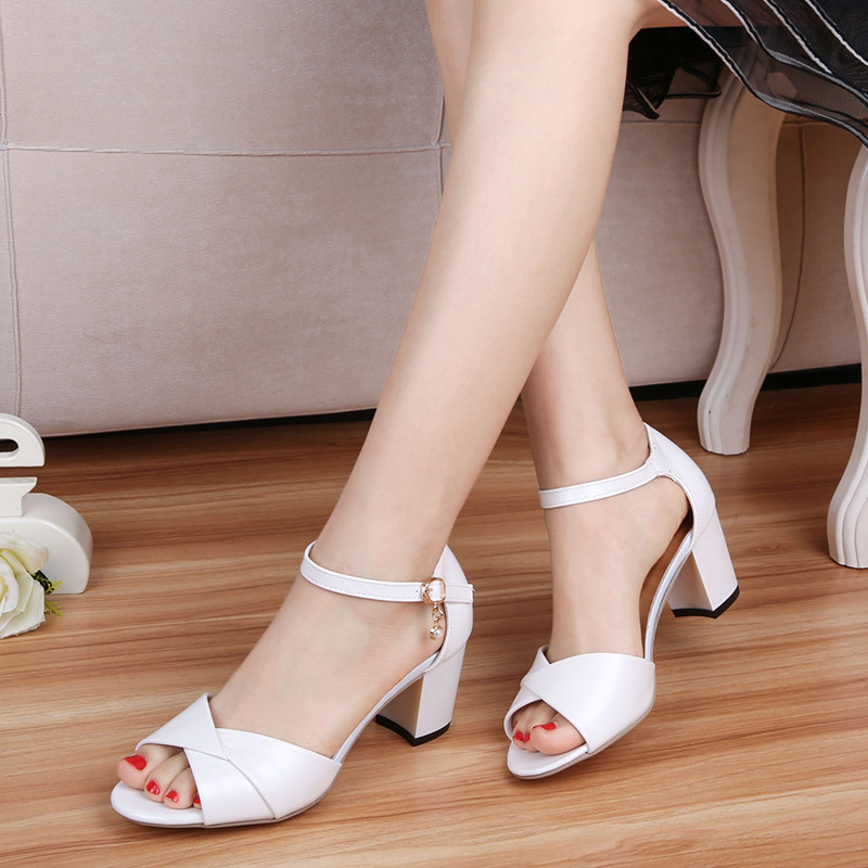 Women's Leatherette Chunky Heel Sandals