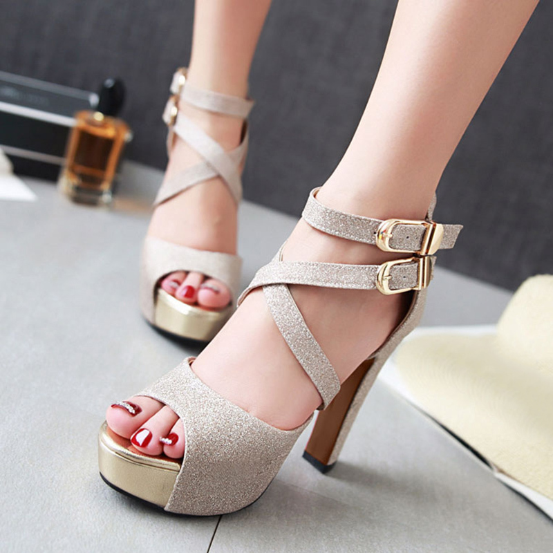 Women's Sparkling Glitter Chunky Heel Sandals Pumps Platform Peep Toe With Sparkling Glitter Buckle shoes