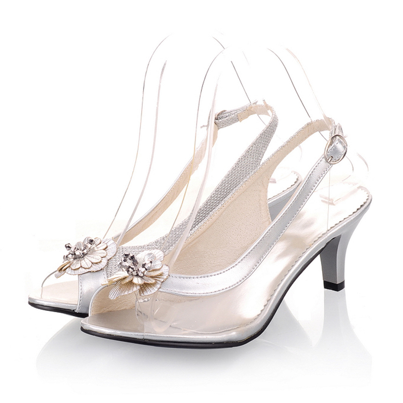 Women's Leatherette Cone Heel Sandals Peep Toe Slingbacks With Flower shoes