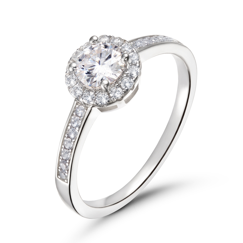 Side Stones Vintage Round Cut 925 Silver Promise Rings