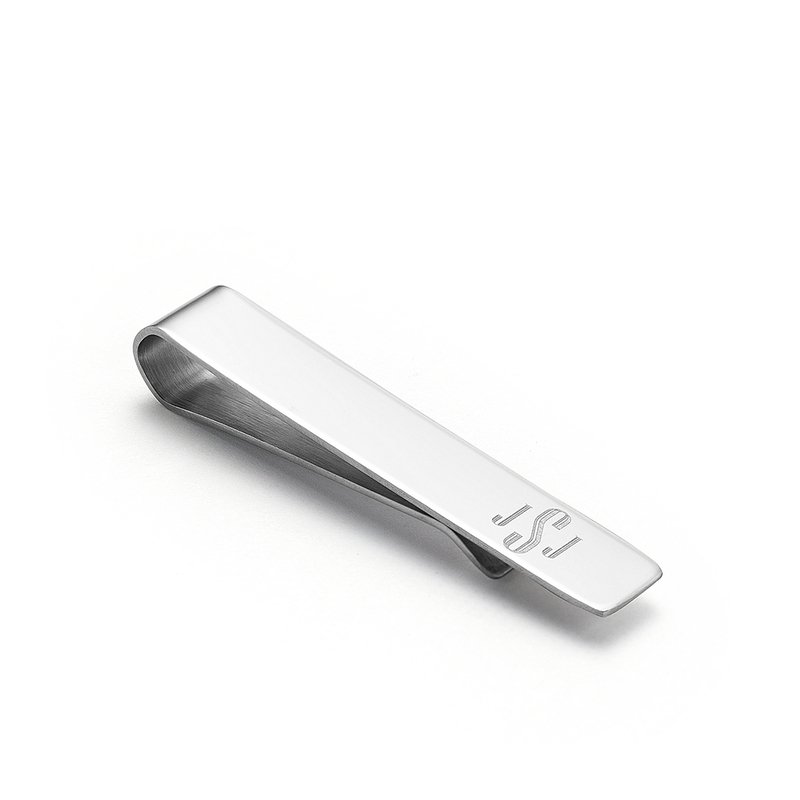 Groomsmen Gifts - Personalized Modern Classic Mens Stainless Steel Tie Clip