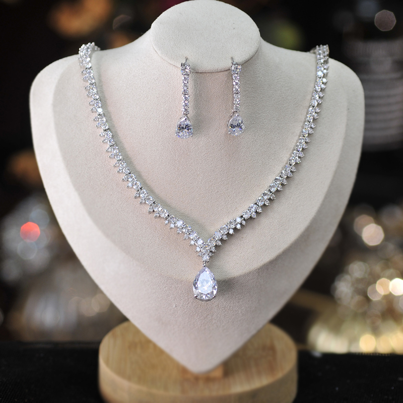 Ladies' Elegant Alloy/Zircon/Silver Plated Cubic Zirconia Bridal Sets Jewelry Sets
