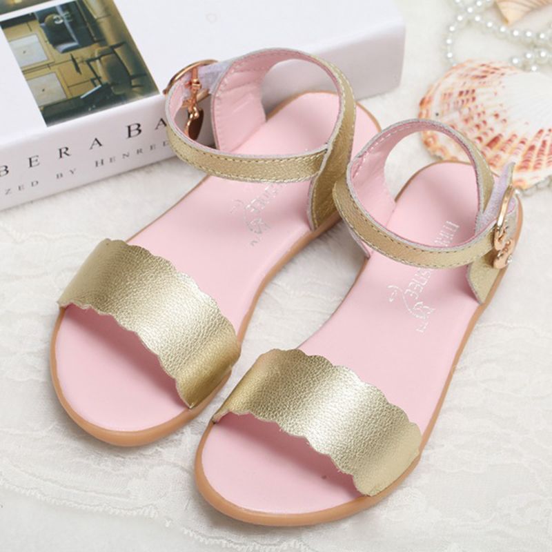 Girl's Peep Toe Real Leather Flat Heel Sandals Flats Flower Girl Shoes
