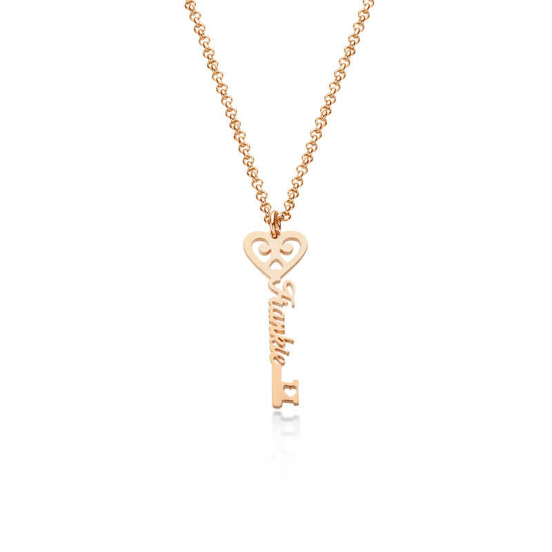 Custom 18k Rose Gold Plated Key Letter Name Necklace With Heart - Birthday Gifts