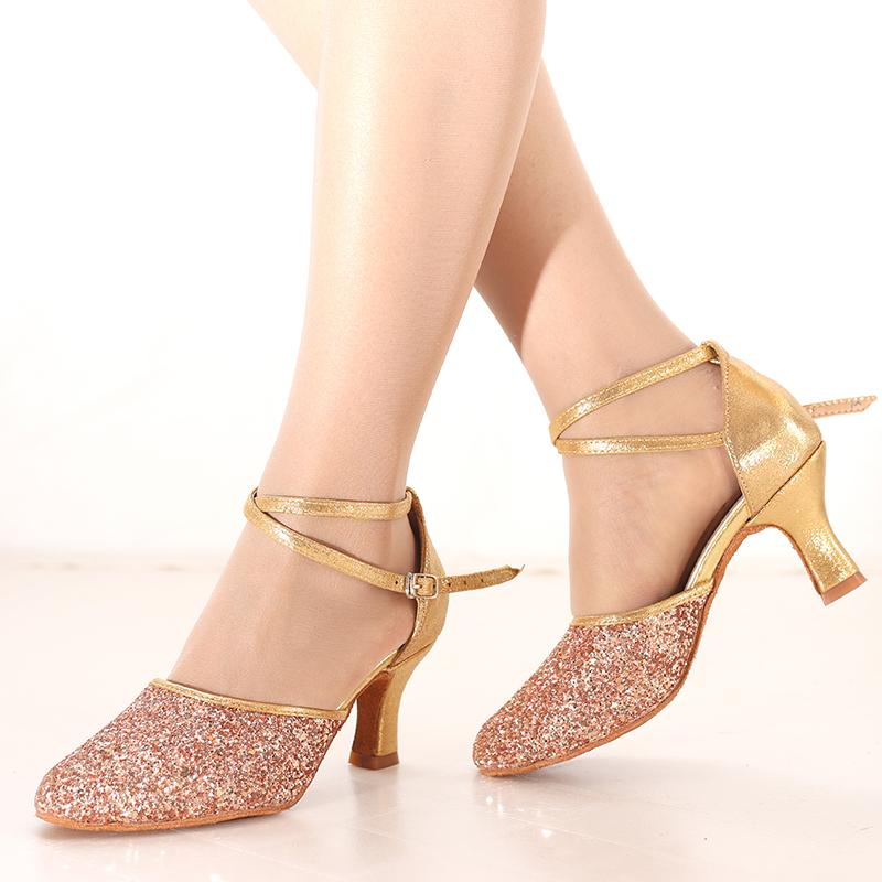 Women's Sparkling Glitter Heels Latin Dance Shoes