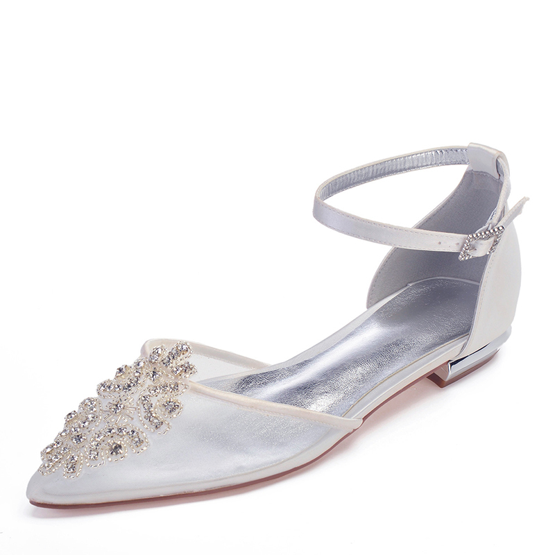 Frauen Mesh Flascher Absatz Geschlossene Zehe Flache Schuhe mit Kristall