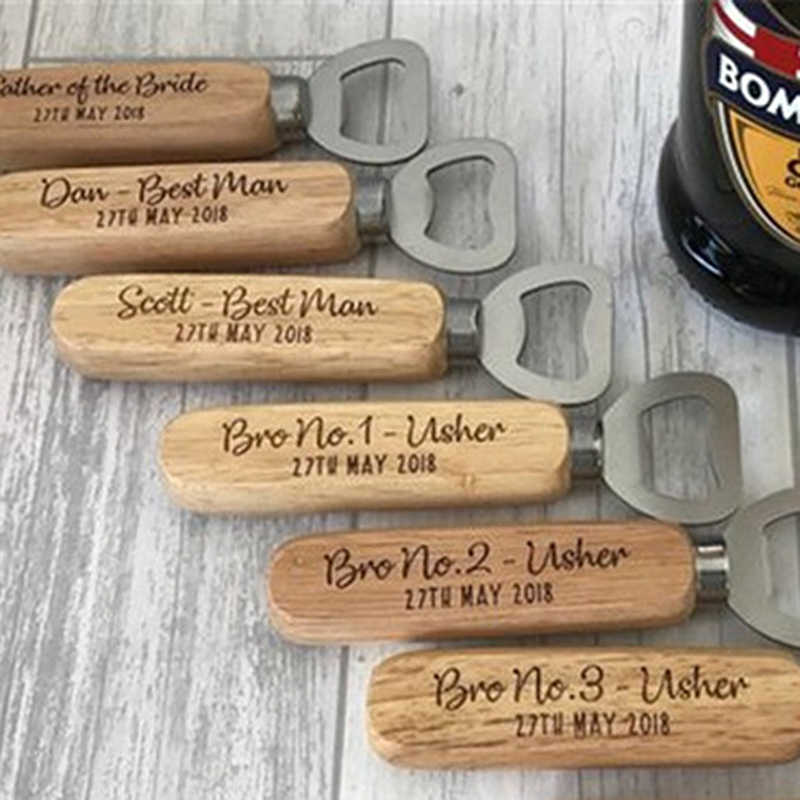 Groomsmen Gifts - Personalized Solid Color Wooden Bottle Opener