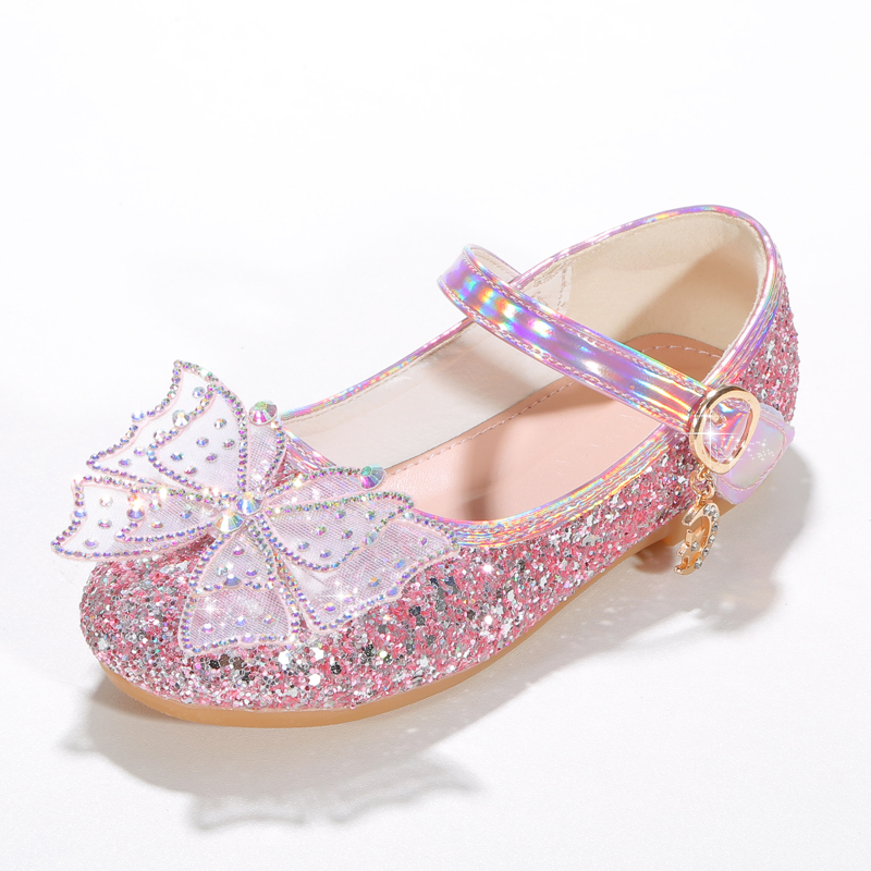 Girl's Closed Toe Microfiber Leather Flat Heel Flower Girl Shoes With Bowknot