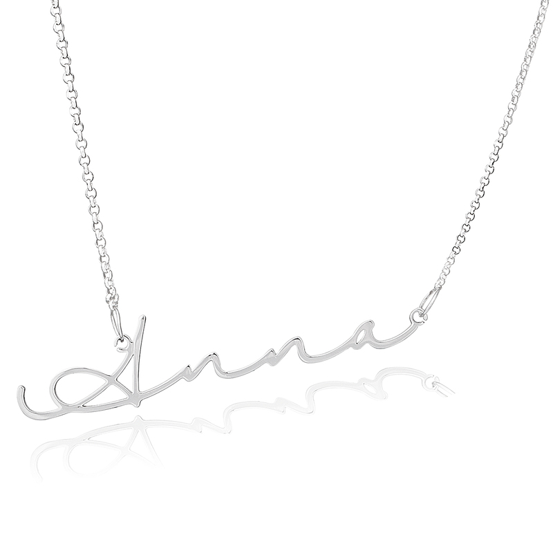 Custom Sterling Silver Signature Cursive Name Necklace - Birthday Gifts Mother's Day Gifts