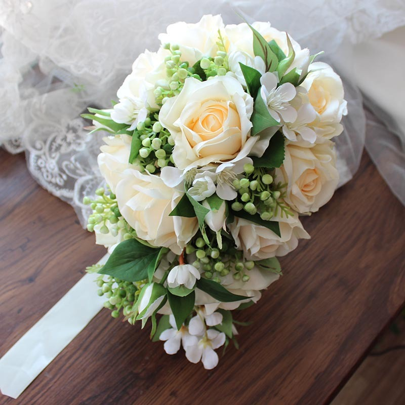 Girly Cascade Silk Flower Bridal Bouquets (Sold in a single piece) - Bridal Bouquets
