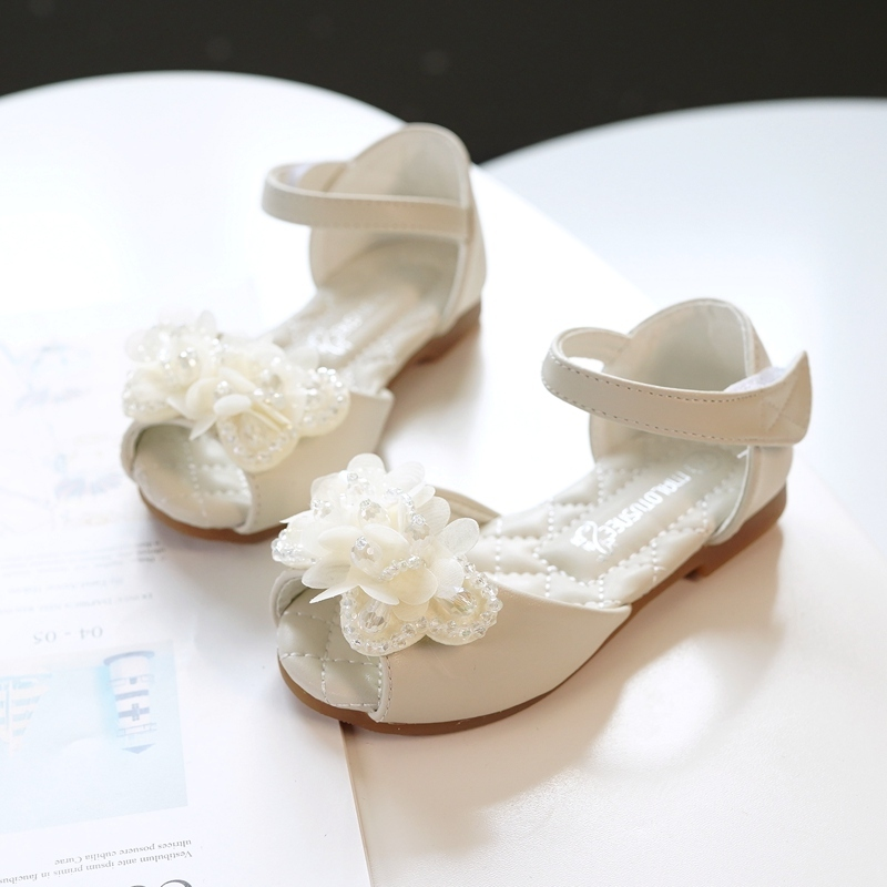 Girl's Peep Toe Microfiber Leather Sandals Flats Sneakers & Athletic Flower Girl Shoes With Velcro Flower