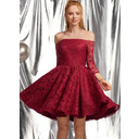 A-Line Off-the-Shoulder Short/Mini Lace Homecoming Dress With Ruffle (022236573)