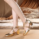 Women's Leatherette Heels Ballroom With Ankle Strap Dance Shoes