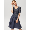A-Line V-neck Knee-Length Chiffon Lace Cocktail Dress With Sequins (016230189)
