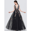 A-Line V-neck Floor-Length Tulle Evening Dress With Lace Beading Sequins (017154027)