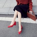 Women's Suede Chunky Heel Pumps Closed Toe With Bowknot Others shoes