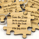 Personalized Puzzle Pieces Wooden Keychains/Save-the-date Magnets (Set of 10)