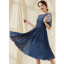 A-Line Scoop Neck Knee-Length Chiffon Lace Homecoming Dress With Ruffle (022256646)