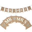 """Mr. & Mrs."" Hemp Rope/Linen Banner (8 Pieces)"