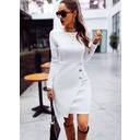 Solid Sheath Round Neck Long Sleeves Midi Casual Dresses (293250234)
