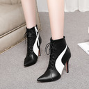 Women's PU Stiletto Heel Pumps Boots Mid-Calf Boots With Lace-up Split Joint shoes