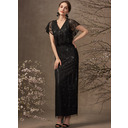 Sheath/Column V-neck Ankle-Length Lace Mother of the Bride Dress With Sequins (008255231)