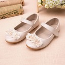 Girl's Closed Toe Leatherette Flat Heel Flats Flower Girl Shoes With Rhinestone Flower