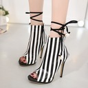 Women's Leatherette Stiletto Heel Sandals Pumps Peep Toe Mid-Calf Boots With Bowknot Lace-up shoes