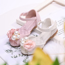 Girl's Peep Toe Leatherette Flat Heel Sandals Flats Flower Girl Shoes With Imitation Pearl Satin Flower Velcro
