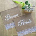 Bride and Groom Linen Photo Booth Props/Banner (2 Pieces)
