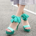 Women's Leatherette Stiletto Heel Sandals Pumps Peep Toe With Ribbon Tie Zipper shoes