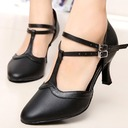 Women's Real Leather Heels Pumps Ballroom Swing Character Shoes With Ankle Strap Dance Shoes