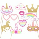 Bride Gifts - Cute Wooden Polyester Photo Booth Prop (Set of 10)