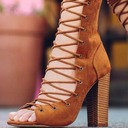 Women's Leatherette Chunky Heel Pumps Peep Toe With Lace-up shoes