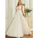 A-Line Scoop Neck Sweep Train Chiffon Lace Wedding Dress With Sequins Pleated (002250150)