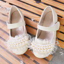 Girl's Round Toe Microfiber Leather Flat Heel Flower Girl Shoes With Beading Stitching Lace Velcro