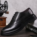 Men's Real Leather Lace-up Brogue Casual Dress Shoes Men's Oxfords