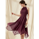 A-Line Scoop Neck Tea-Length Chiffon Bridesmaid Dress With Cascading Ruffles (007255162)