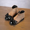 Girl's Round Toe Closed Toe Ankle Boots Suede Flat Heel Flats Boots Flower Girl Shoes With Bowknot Lace-up Zipper
