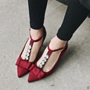 Women's Suede Stiletto Heel Closed Toe Mary Jane With Rhinestone Bowknot shoes