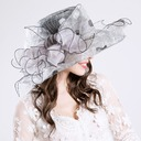 Ladies' Gorgeous Cotton/Net Yarn With Silk Flower Floppy Hat/Kentucky Derby Hats