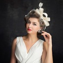 Dames Simple Batiste/Feather/Tulle avec Feather Chapeaux de type fascinator/Chapeaux Tea Party