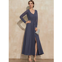 A-Line V-neck Ankle-Length Chiffon Mother of the Bride Dress With Bow(s) Split Front (008235591)