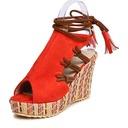Frauen Veloursleder Keil Absatz Sandalen Keile mit Zuschnüren Schuhe